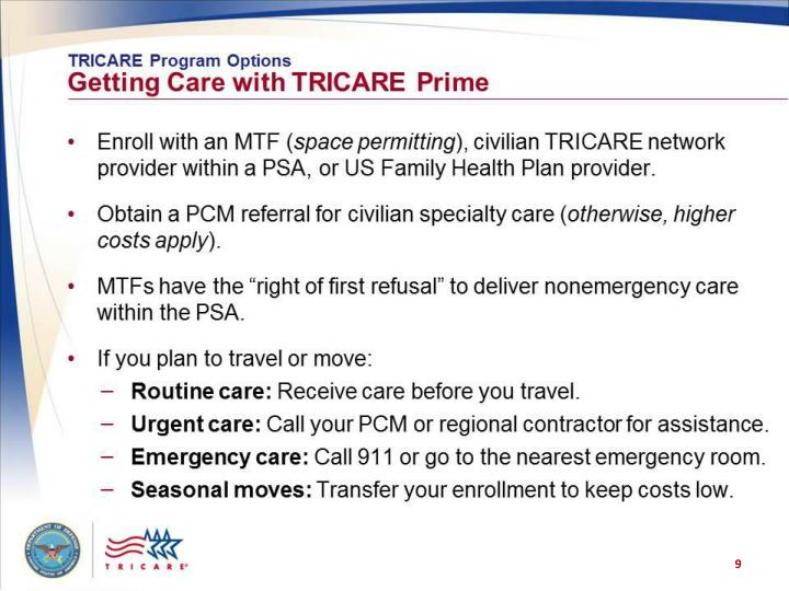 TRICARE Program Options: Getting Care with TRICARE Prime