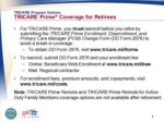 tricare program options tricare prime coverage for retirees