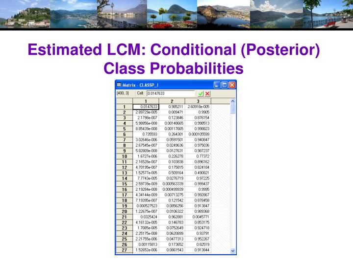 Estimated LCM: Conditional (Posterior) Class Probabilities