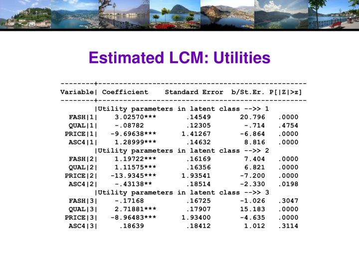 Estimated LCM: Utilities