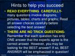 hints to help you succeed