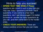 hints to help you succeed2