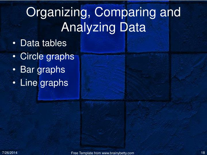 Organizing, Comparing and Analyzing Data