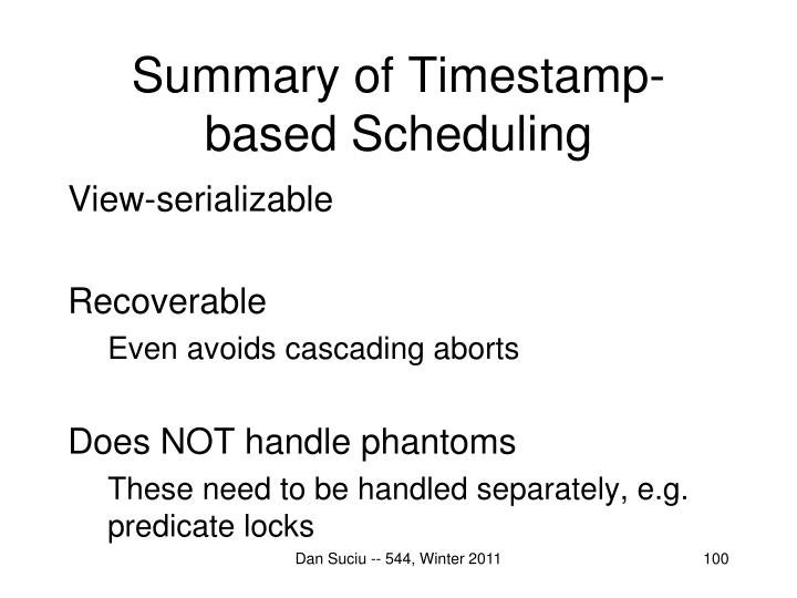 Summary of Timestamp-based Scheduling