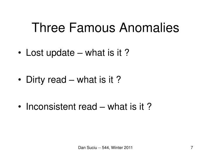 Three Famous Anomalies