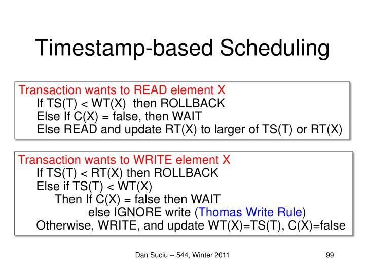 Timestamp-based Scheduling