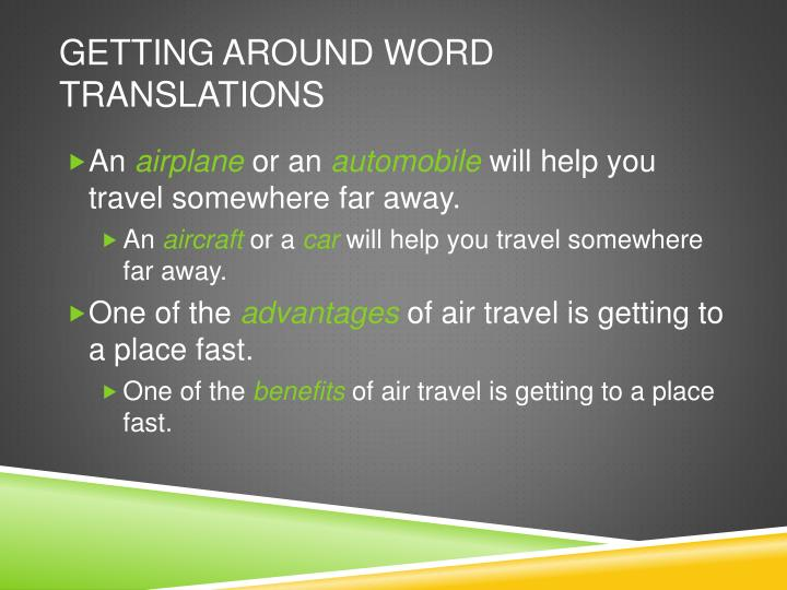 Getting Around Word Translations