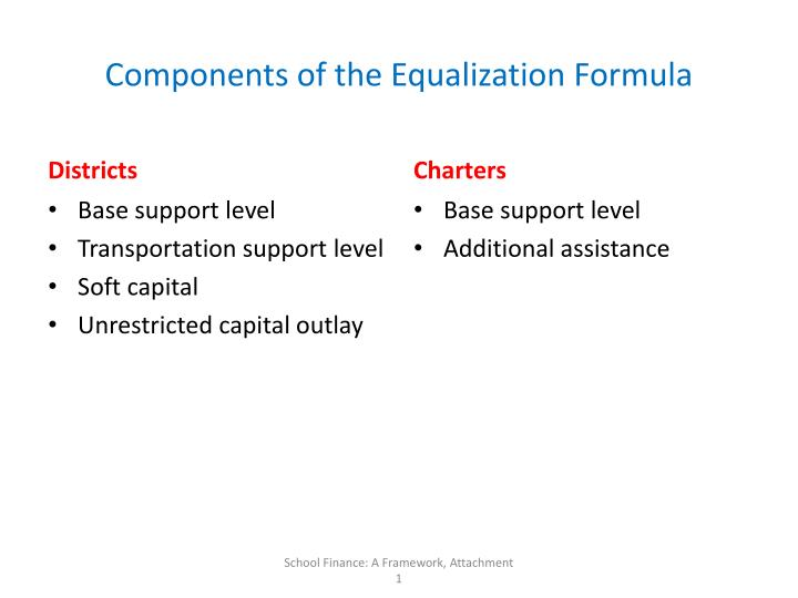 Components of the Equalization Formula