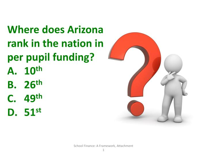 Where does Arizona rank in the nation in per pupil funding?