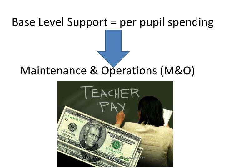 Base Level Support = per pupil spending