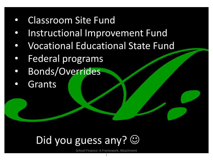 Classroom Site Fund