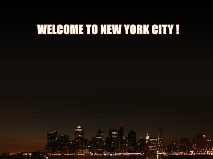 WELCOME TO NEW YORK CITY !