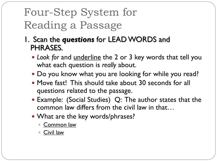 Four step system for reading a passage