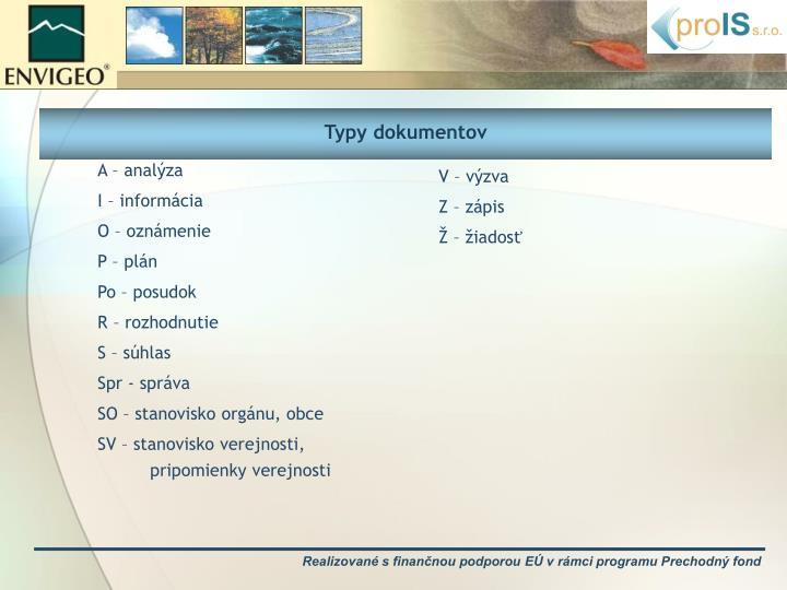 Typy dokumentov