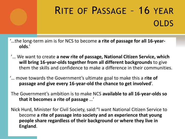 Rite of Passage – 16 year olds