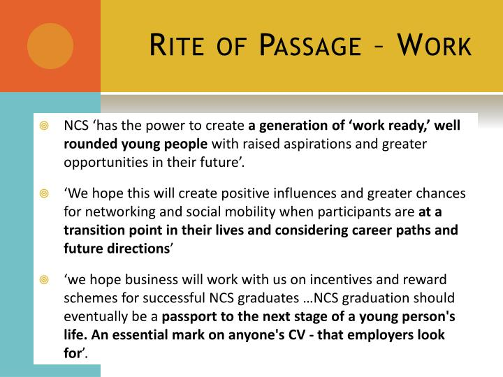 Rite of Passage – Work