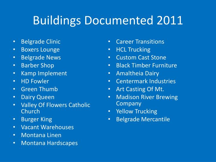 Buildings Documented 2011