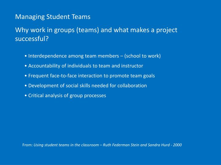 Managing Student Teams