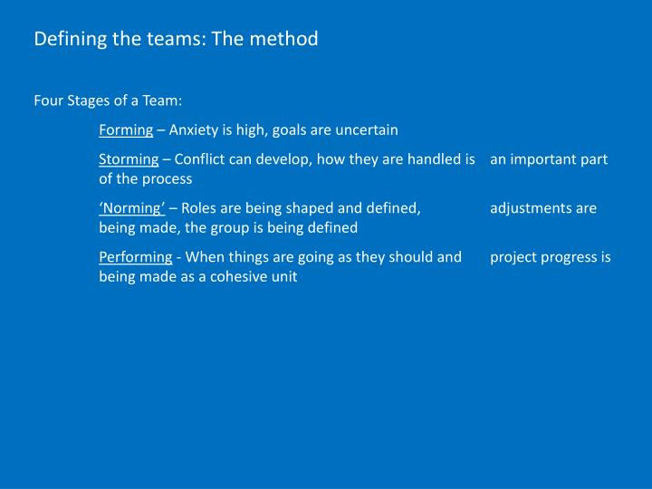 Defining the teams: The method