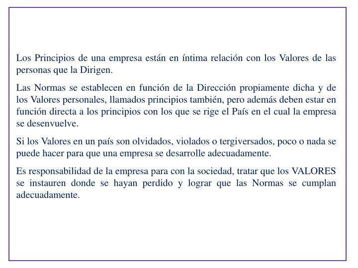 Los Principios de una empresa estn en ntima relacin con los Valores de las personas que la Dirigen.