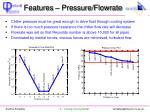 features pressure flowrate