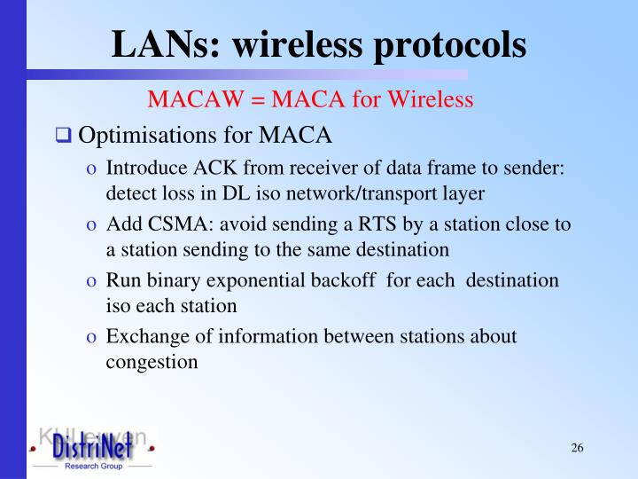 LANs: wireless protocols