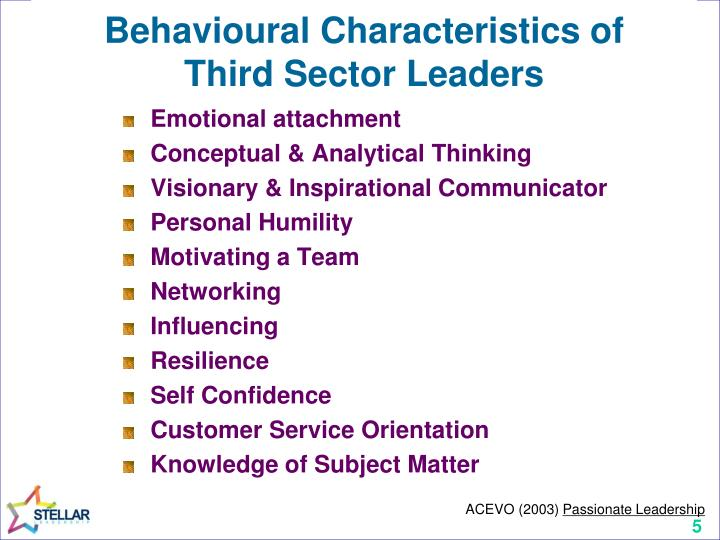 Behavioural Characteristics of
