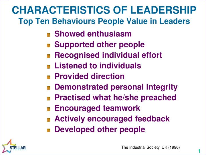 CHARACTERISTICS OF LEADERSHIP