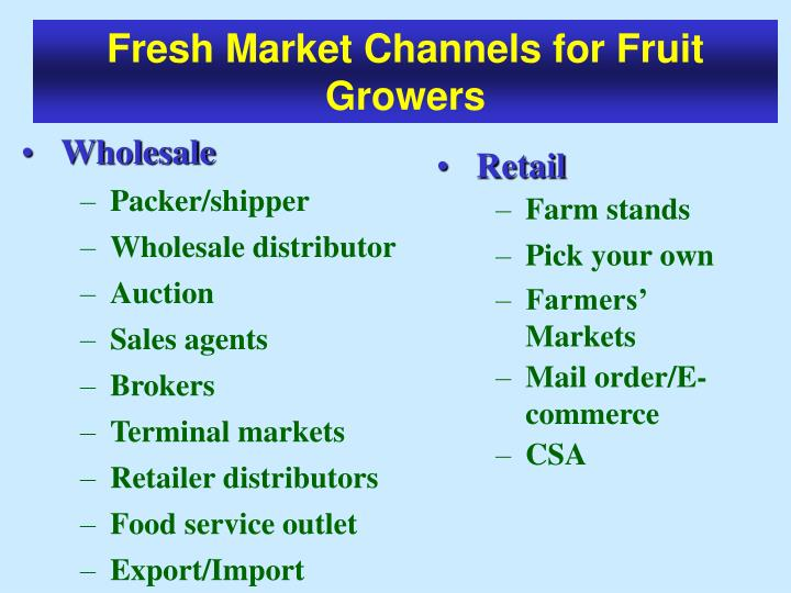 Fresh Market Channels for Fruit Growers