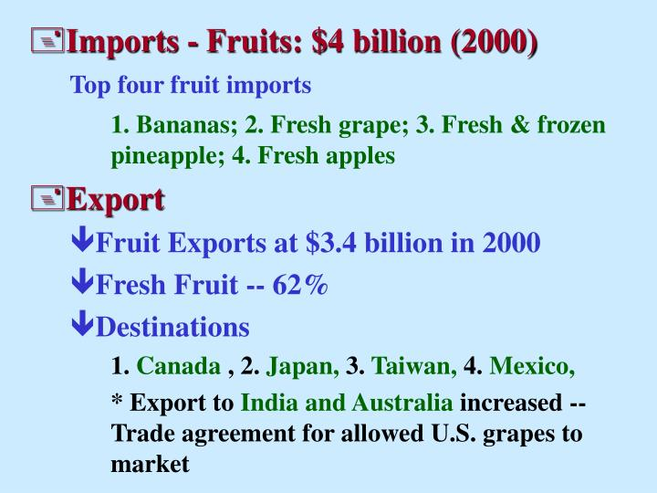Imports - Fruits: $4 billion (2000)