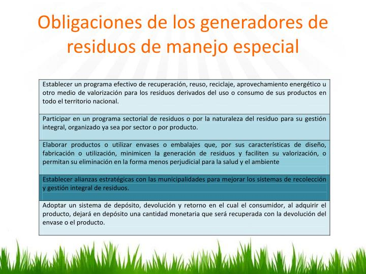 Obligaciones de los generadores de residuos de manejo especial