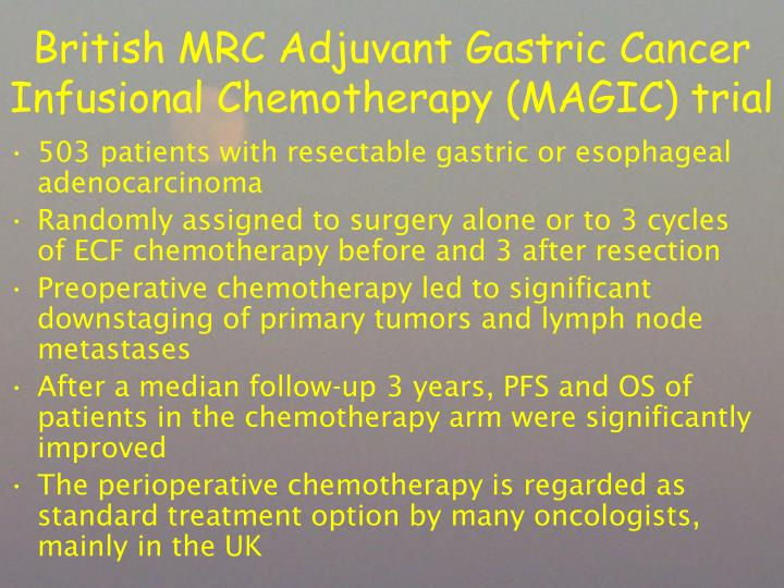 British MRC Adjuvant Gastric Cancer Infusional Chemotherapy (MAGIC) trial