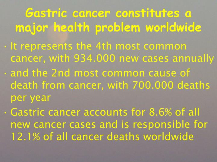 Gastric cancer constitutes a major health problem worldwide