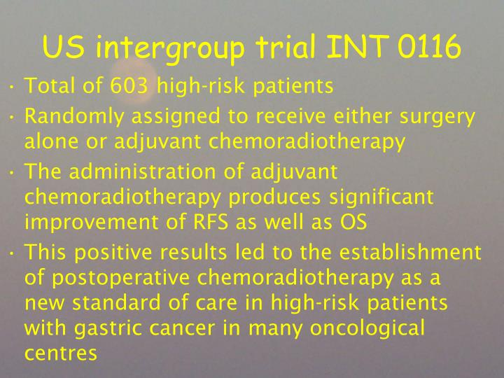 US intergroup trial INT 0116
