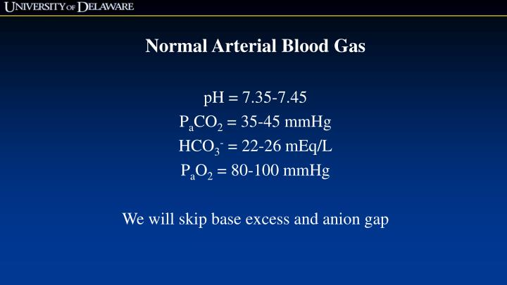 Normal Arterial Blood Gas