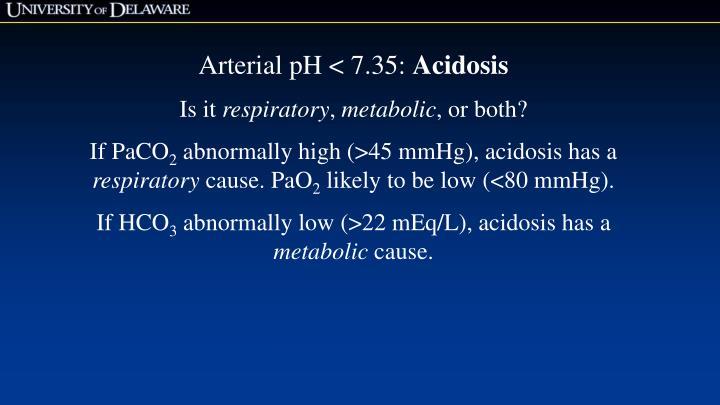 Arterial pH < 7.35: