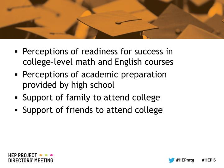 Perceptions of readiness for success in college-level math and English courses