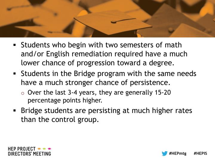 Students who begin with two semesters of math and/or English remediation required have a much lower chance of progression toward a degree.
