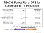 teach forest plot of dfs for subgroups in itt population