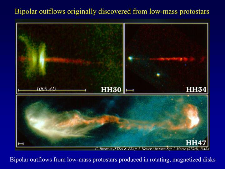 Bipolar outflows originally discovered from low-mass