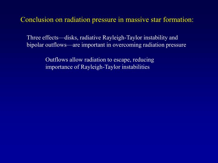 Conclusion on radiation pressure in massive star formation: