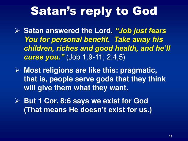 Satan's reply to God