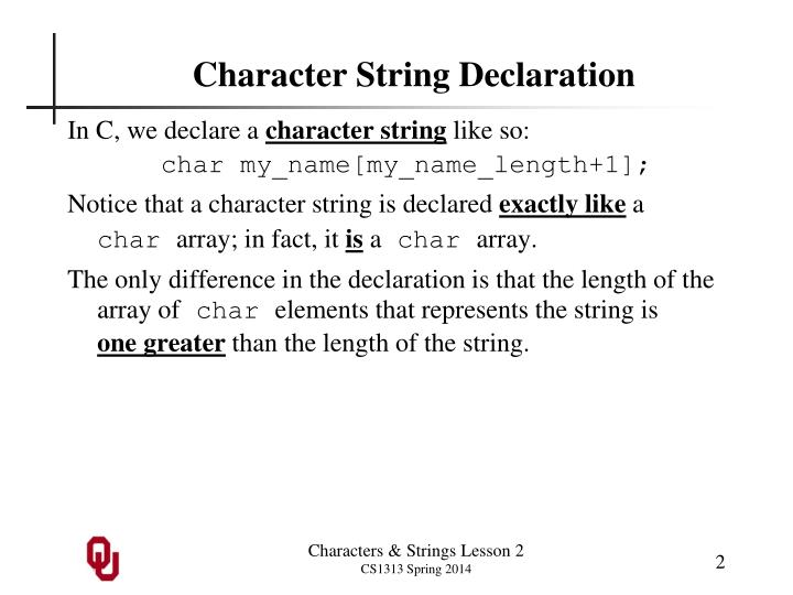 Character String Declaration
