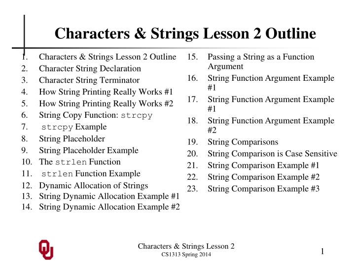 Characters strings lesson 2 outline