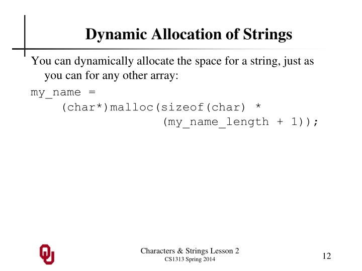 Dynamic Allocation of Strings