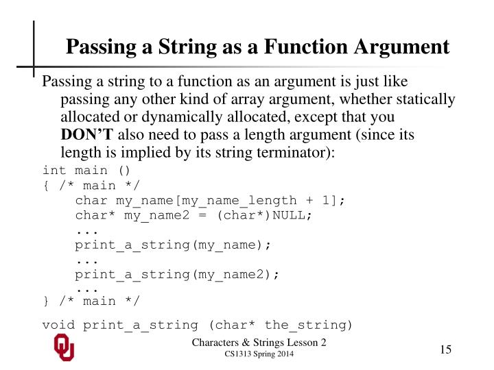 Passing a String as a Function Argument