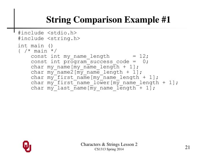 String Comparison Example #1