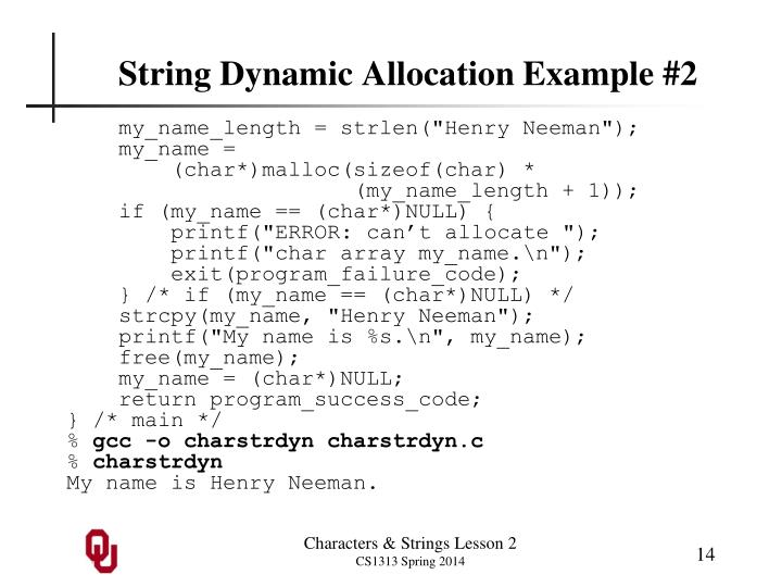 String Dynamic Allocation Example #2