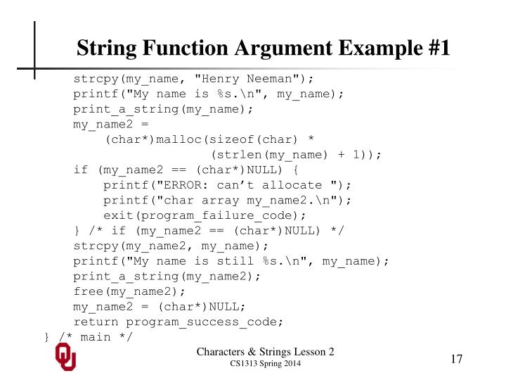 String Function Argument Example #1