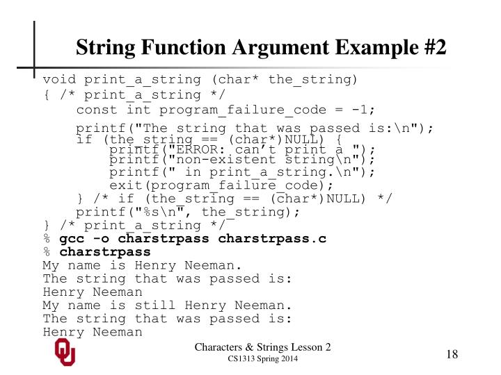 String Function Argument Example #2
